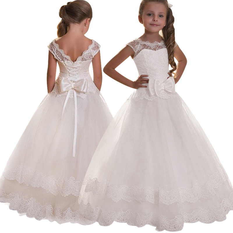 3-14 years   girl   Wedding   flower     girl     dress   European and American lace big Bow princess   dress   Childrens luxury wedding   dress