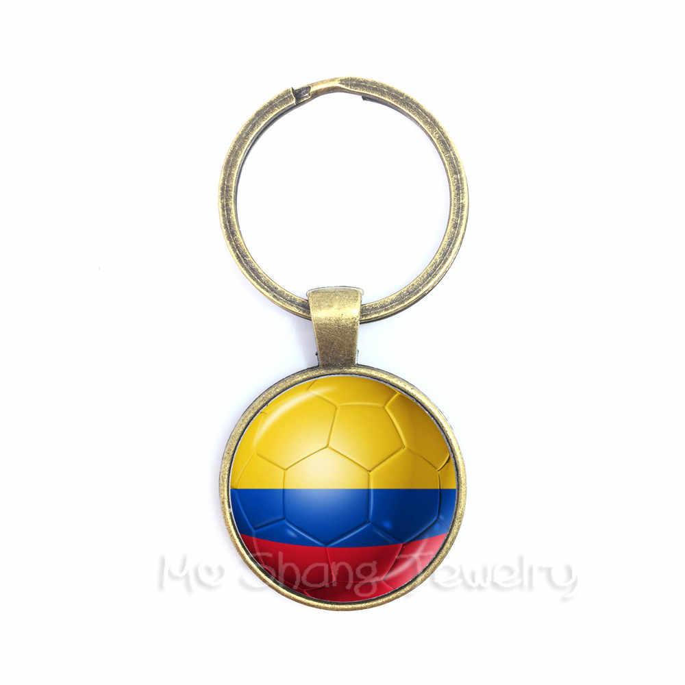 Colômbia, da França, da Costa Rica, na Inglaterra, coreia do sul de Futebol Lembranças Keyring Pingente Cúpula de Vidro Chaveiros Para COPA 2018 De Futebol