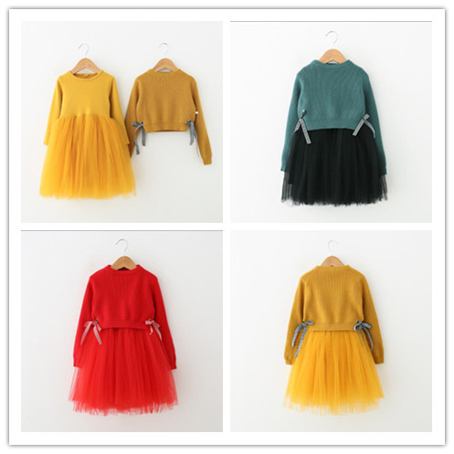 2-7 years Wholesale Girl 2 Pcs Ses 2017 Autumn Girls Fashion New 2pcs Suites Bow Sweater+tulle Dress ilunion suites ех confortel suites 4 мадрид
