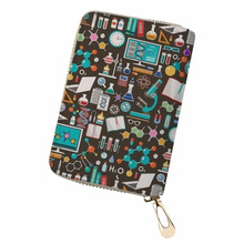NOISYDESIGNS Women Business Card Holder Science Pattern PU Leather ID for Ladies Fashion Driving License Cover Purse