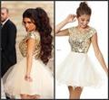 2016 8th Grade Prom Homecoming Dresses Under 100 Vestidos Gold Organza Short Party Dress For Girls Vestido De Festa Curto