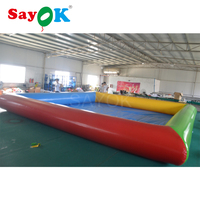 8x8m/26.2x26.2ft Inflatable Water Pool Entertainment Home Commercial Water Game Facilities for Adult Children