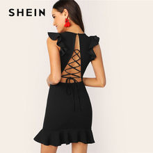 51f9358345c SHEIN noir Sexy à lacets à volants garniture Mini robe femmes d été glamour  sans manches col en V moulante robe de soirée robe d.
