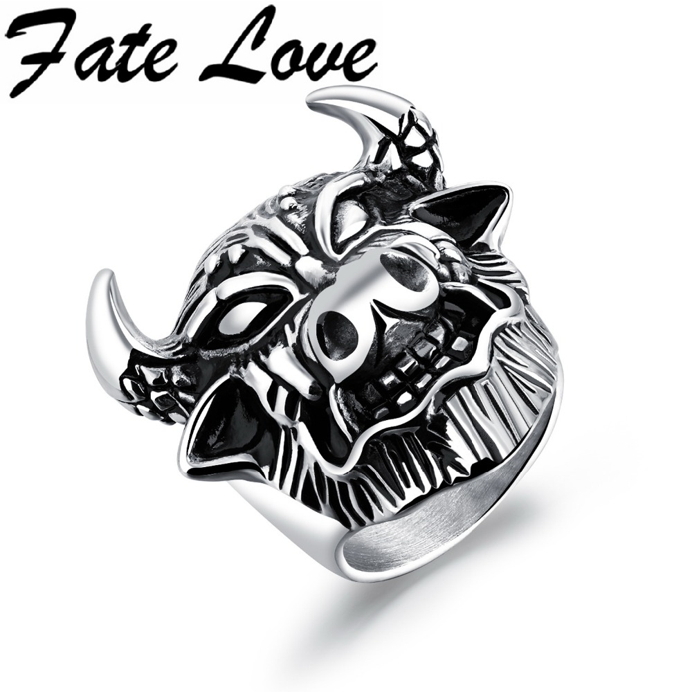 Fate Love Hot Sale Classic Cow Shape Punk Male Rings Stainless Steel Vintage Finger Rings Mens Ornaments Jewelry Boys Gifts 580