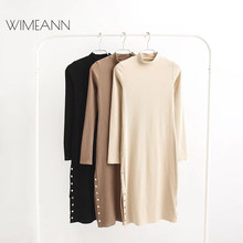 Wimeann Black Sexy Knitted Dresses Women Long Sleeve O Neck Sheath Spring Winter Dress 2018 Single-breasted White Dresses D132