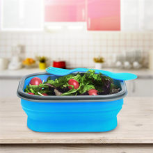 KCASA Collapsible Silicone Food Lunch Dinnerware Box BPA Free Foldable Bento Fruit Salad Storage Food Box Container Tableware(China)
