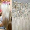 Mel loira brasileira grampo de cabelo humano em extensões de cabelo 100 brasileiro cili no cabelo sem sheding cabelo virgem #60 navio livre por DHL