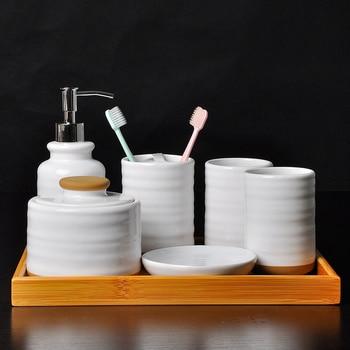5/6/7 ชิ้นเซรามิคชุดอุปกรณ์ห้องน้ำสบู่/ผู้ถือแปรงสีฟัน/แก้ว/จานสบู่ไม้ไผ่ถาดห้องน้ำ