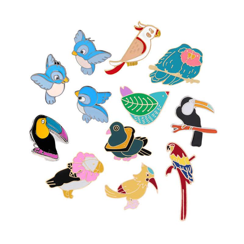 12 スタイルの鳥オウムカラスイーグルブローチ女性動物金属ピンとブローチ女性のためジュエリーメンズアクセサリーラペルピンバッジ