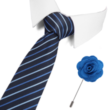 Striped Solid Silk Tie 7.5cm Slim Paisley Mens Casual Blue Black Skinny Ties Red Green Gray Necktie&Pin set Men Wedding