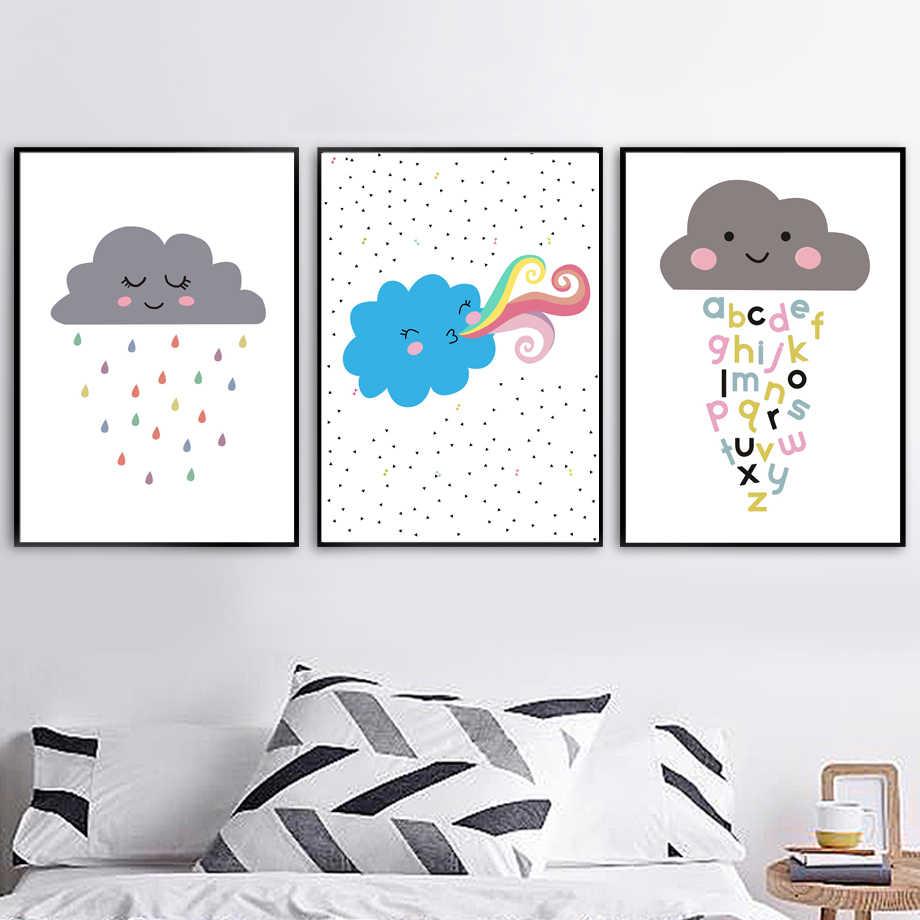 Cartoon Blue Cloud Raindrop Alphabet