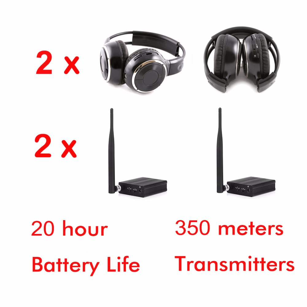 500m Foldable silent disco wireless headphone 2pcs packed with 2 transmitters