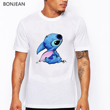 Lilo&Stitch t shirt men sweet alien cartoon animal print tee homme anime tshirt white oversized summer top