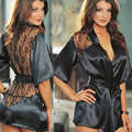 Sexy Lingerie 2017 Hot Sale Satin Lace Black Kimono Intimate Sleepwear Robe Women's Underwear Sexy Night Gown Sex Products