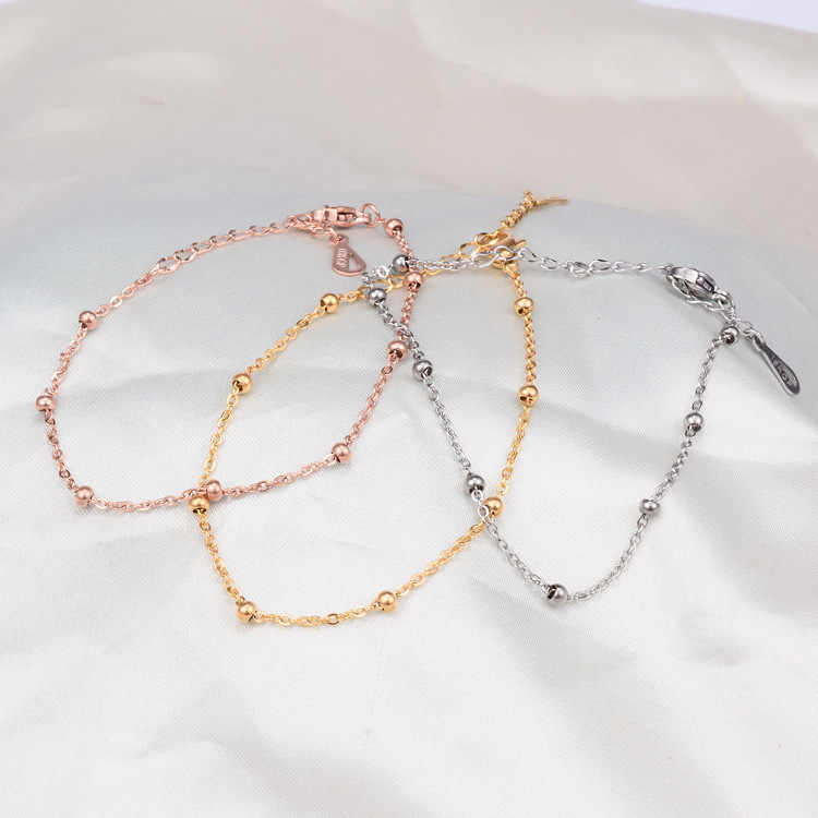 Rose gold color stainless steel bead bangle bracelet women, fashion hand chain bracelets & bangles friendship bracelets jewelry