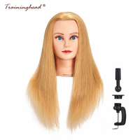 Traininghead 24 26 100% High Human Hair Mannequin Head Golden Wigs Hair Hairdresser Manikin Cosmetology Doll Head For Braiding