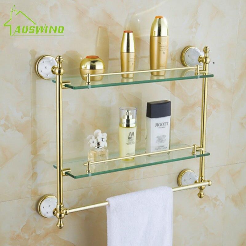 Diamond star bathroom accessories set solid brass gold - Wall mounted ceramic bathroom accessories ...