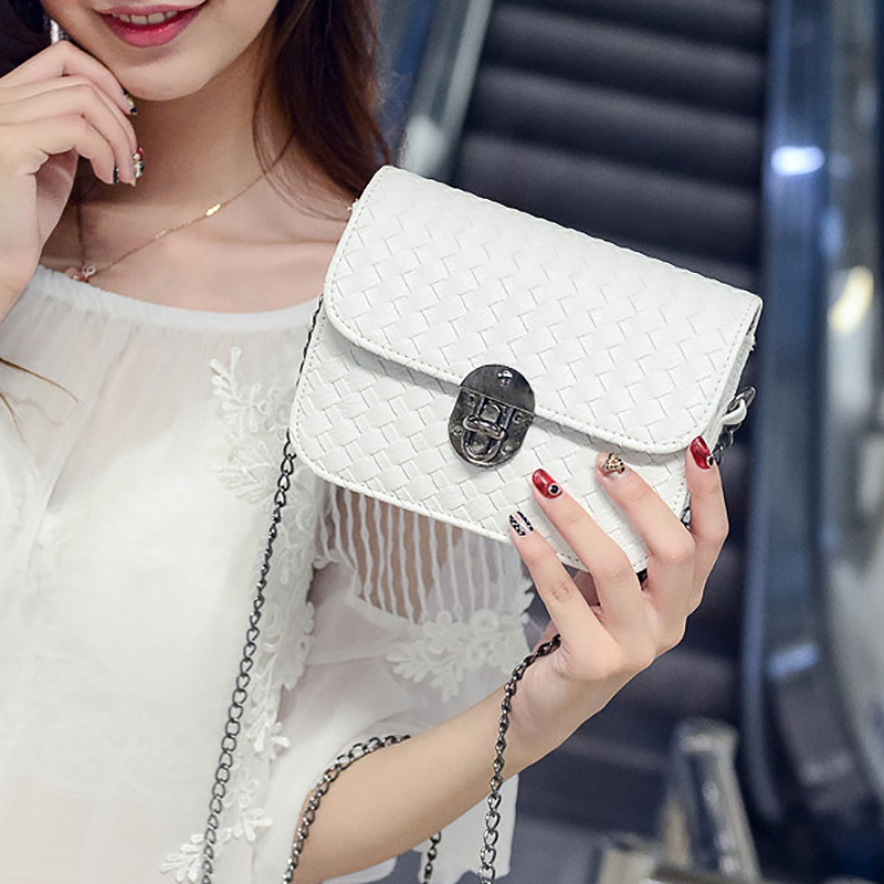 Chain Handbags Tide Small Square Package Fashion Woman Shoulder Bag Han Edition Messenger Bag White
