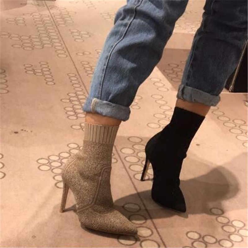 Jawakye Streç örme çorap Patik Kadın Sivri Burun Ince Yüksek Topuklu yarım çizmeler Kadın Ayakkabı