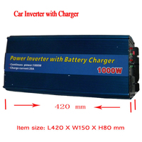Hi Quality Rated Power 1000watts 12V DC to 220V AC Inverter Blue 2 in 1 Converter with Battery Charger 20A Power Inverters
