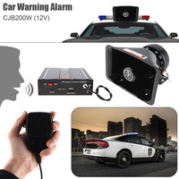 12V 200W 9 Tone Loud Car Vehicle Warning Alarm Police Siren Horn Speaker with MIC System