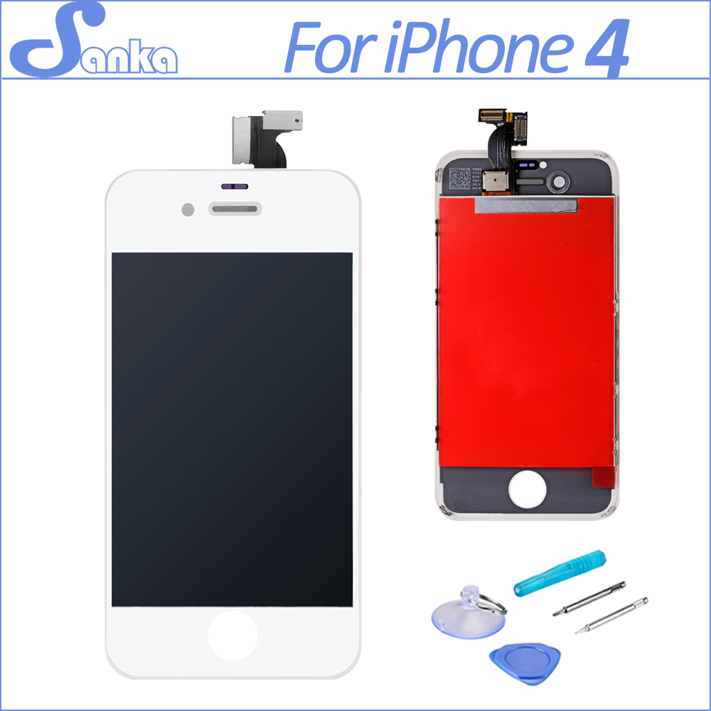 SANKA Replacement LCD For iPhone 4 4G A1332 LCD Display Digitizer Touch Screen Assembly Ecran Pantalla White & Free Tools AAA