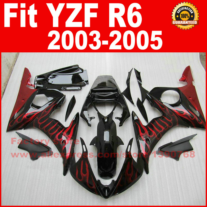 Custom motorcycle body fairings kit for YAMAHA R6 2003 2004 2005 YZF R6 03 04 05  red flame fairing kits bodywork part motorcycle part front rear brake disc rotor for yamaha yzf r6 2003 2004 2005 yzfr6 03 04 05 black color