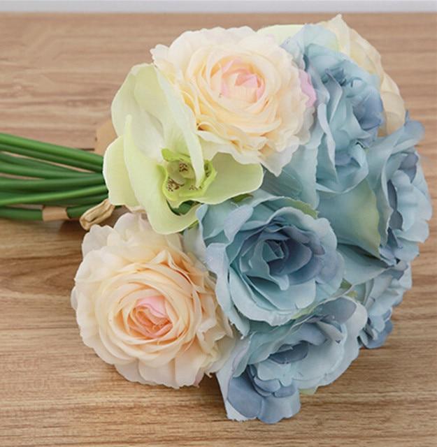 5 49 31 De Reduction One Piece Artificielle Rose Orchidee Papillon Mixte Fleurs Bouquet Pour Le Mariage Mariee Bouquet Decoration De La Maison