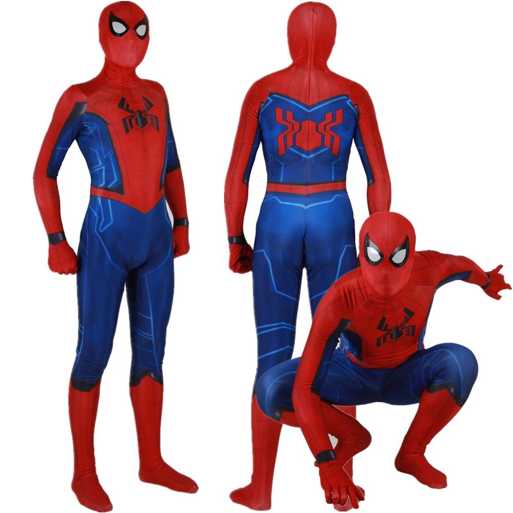Adult Kids New Design Spiderman Home Coming Cosplay Costume Zentai Spider Man Superhero Bodysuit Suit Jumpsuits