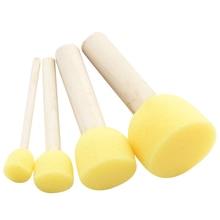 4pc/lot Yellow Sponge Paint Brush Wooden Handle Sponge Brush Children's  Graffiti Painting Tool Craft DIY Doodle Drawing Toys