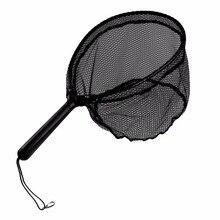 Foldable Fly Fishing Landing Brail Black Soft Rubber Net 61x23x27.5cm Eva Handle Nets Mesh
