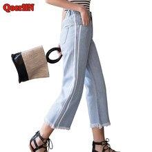 QoerliN Côté Rayé Vintage Ripped Jeans Femmes Cheville-Longueur Poche À  Fermeture Éclair Taille Haute Rue Droite Denim Pantalon . 7ef3efc5ee85
