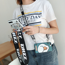 For iphone XS X 8 7 plus 6 6s case cover fashion cute cartoon duck painted with shoulder strap soft silicon phone bag
