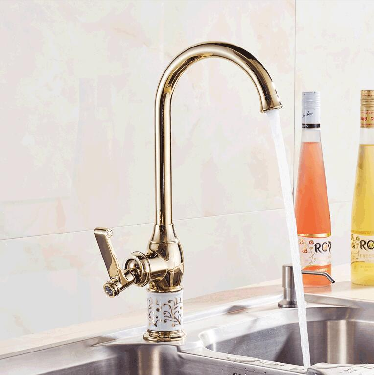 Free Shipping Kitchen Faucet Golden Brass For Cold And Hot