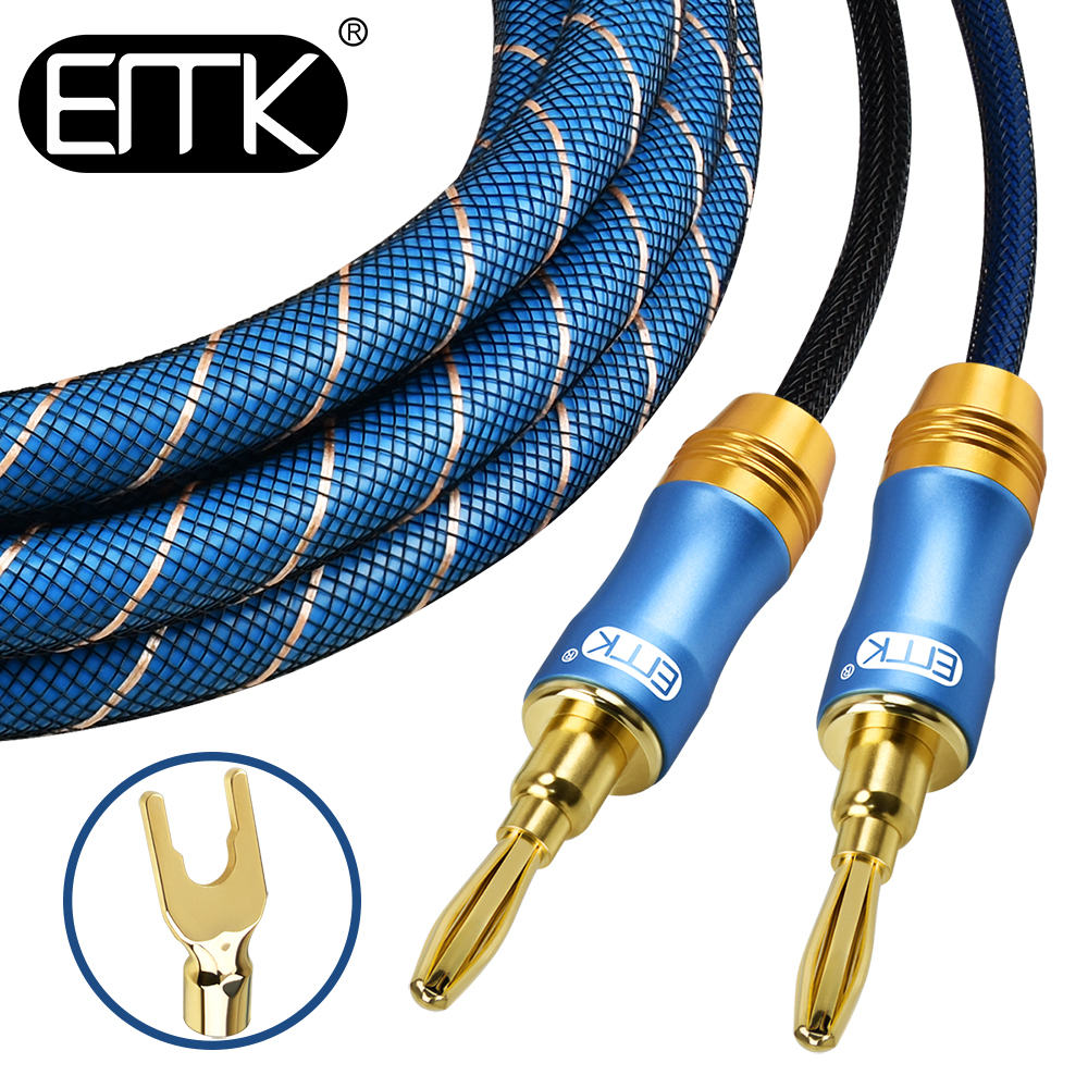 EMK Braided Speaker Cable with 4mm Plugs Gold Plated Musical Wire Pin Banana Plug Connectors
