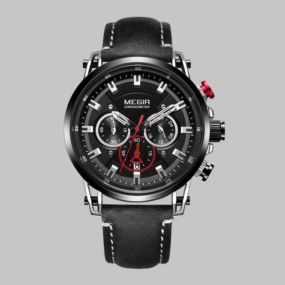 אופנה מותג Megir גברים של שעון הכרונוגרף קוורץ שעונים איש עור רצועת שעון ספורט צבא תאריך שעוני יד Relogios Masculino