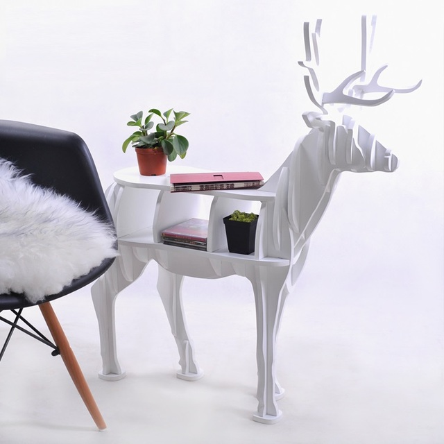 """high-end series """"S""""size Reindeer wood side table furniture self-build puzzle furniture"""