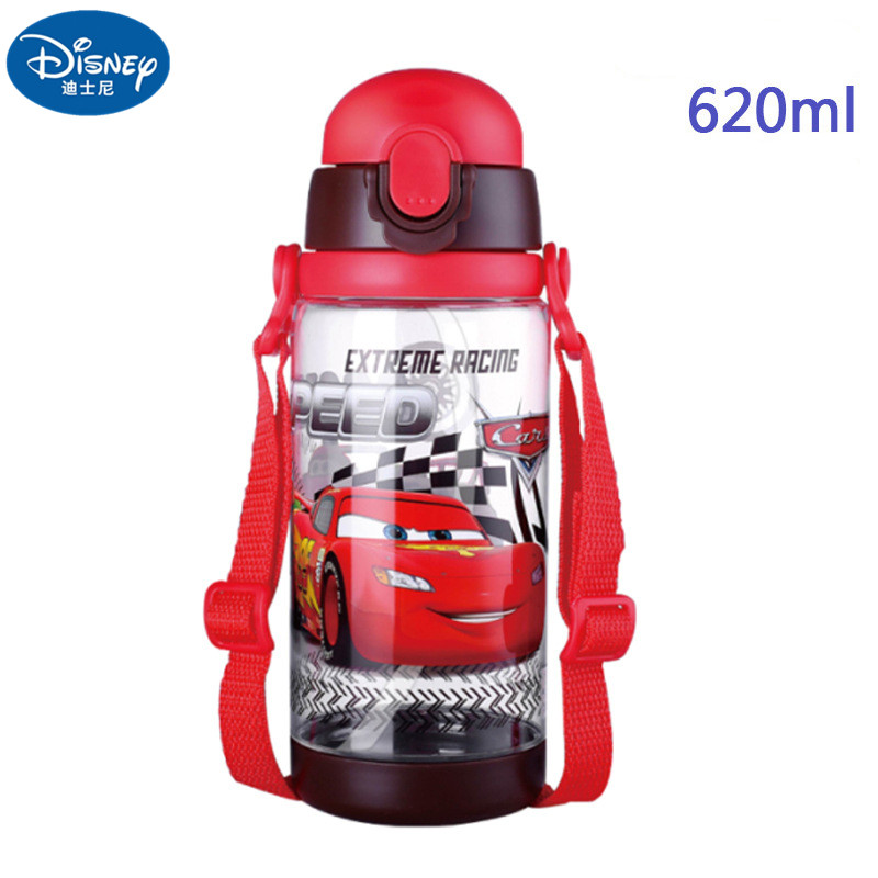 520ML Red Cars Baby Straw Bottle Water Cup Boys Girls Learning Drink Water Handle Cute Babies Baby Mickey Minnie Cup Gift