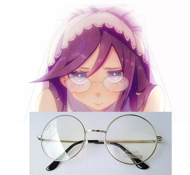 776216a9e8 Dangan Ronpa Danganronpa Touko Fukawa Cosplay Glasses Silver Frame Cos  Eyewear Cosplay Accessories
