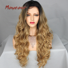 hot deal buy 180 density long wavy wigs with natural hairline synthetic lace front wigs for women black blonde ombre color body wave lace wig