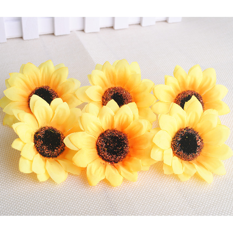 7cm Silk sunflower Artificial Flower Heads Wedding DIY Wreath Hair Fake Flowers Decoration