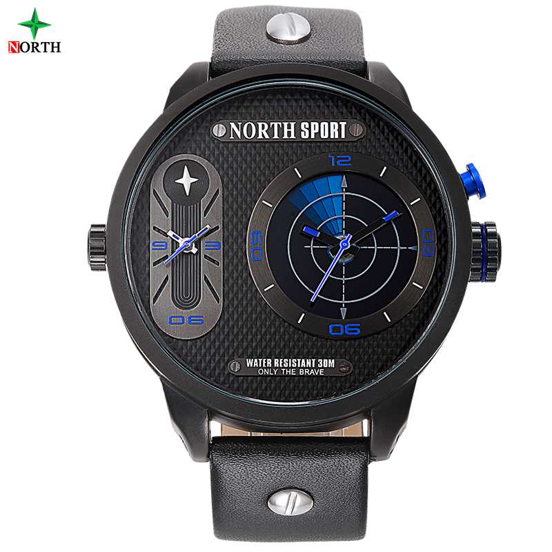 2016 Brand north Luxury Leather Band Dual Time Display Quartz watch reloj hombre sports Clock Sports Men relogio masculino big face original oulm 9316b brand japan movt quartz dz watch large men dual time male imported reloj hombre relogio masculino