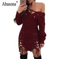 Abasona Women Lace Up Dress Autumn Winter Off Shoulder Long Sleeve Bodycon Pencil Dress Evening Party