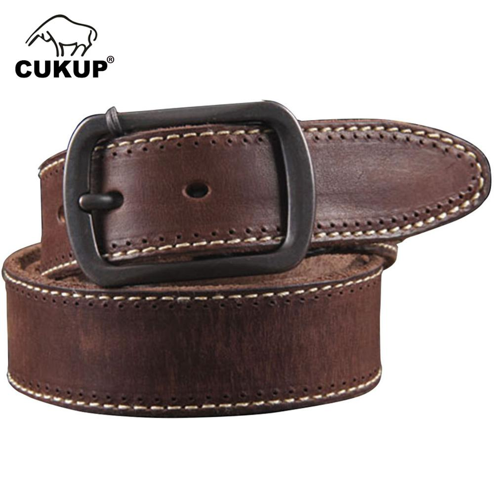 CUKUP Top Quality Cow Skin Leather Casual Belts Black Alloy Clasp Buckle Metal Belt Men Retro Styles Jean Accessories NCK087