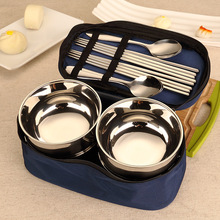 Creative travel portable stainless steel bowl and spoon set retro dishes family tableware Japanese-style rice bowls