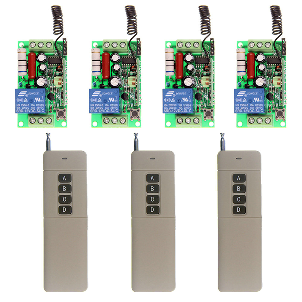 3000m AC 220V 110V 1 CH 1CH RF Wireless Remote Control Switch System,4CH Transmitter + Receiver,M,T,315/433 MHz ac 220v 110v 1 ch 1ch rf wireless remote control switch system 3 6ch transmitter 6 receiver toggle momentary 315 433 92