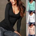 2017 Da Mulher Da Forma T-shirt Com Decote Em V Das Mulheres T-shirt Plus Size Algodão de Manga Comprida T Shirt Mulheres Camiseta Vetement Femme TM17022601