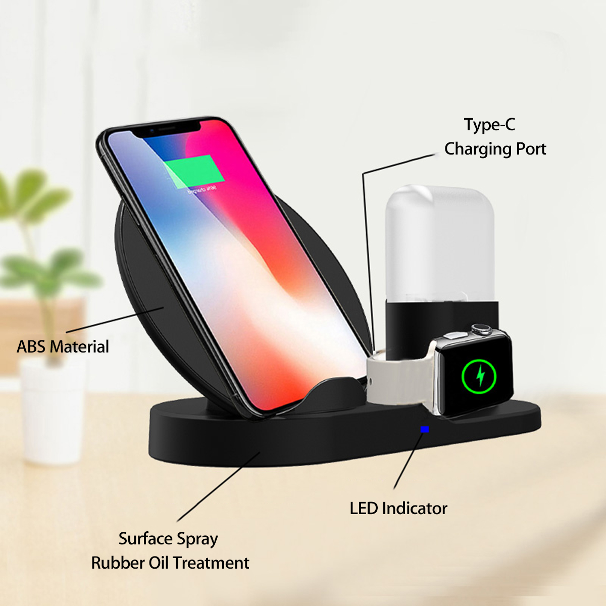 3in1 10W Qi Wireless Charger For AirPods Dock Station Fast Charging for Apple Watch 1 2 3 4 For iPhone XR XS Max For Samsung S9