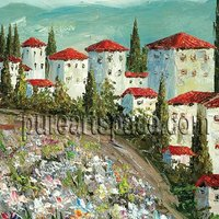 Red Roof Houses Wholesale Palette Knife Painting 24 24inch 60 60cm Free Shipping