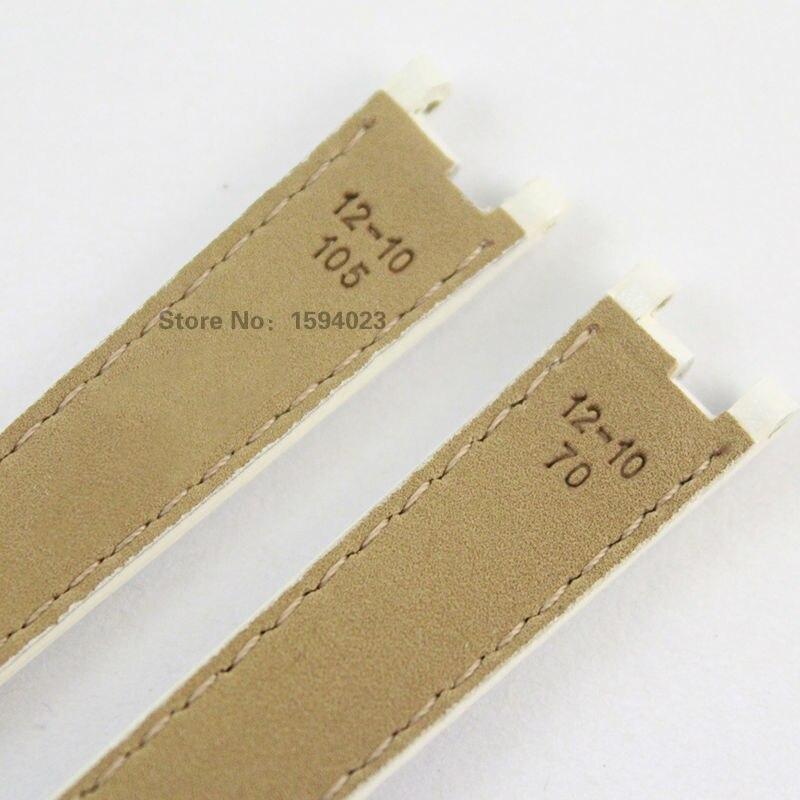 12mm (Buckle10mm) T094210A manteau de peinture en cuir véritable bracelet femmes noir blanc bracelet de montre accessoires bracelet de montre pour T094 - 5